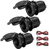 12V Cigarette Lighter Socket Car Marine Motorcycle ATV RV Lighter Socket Power Outlet Socket Receptacle Waterproof Plug 3Pack