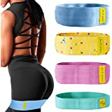 June & Juniper Resistance Booty Bands Set: 3+1 Non-Slip Fabric Exercise Bands for Butt, Leg & Arm Workout. Perfect Gym Home &