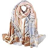100% Silk Scarf - Women's Fashion Large Sunscreen Shawls Wraps - Lightweight Floral Pattern Satin for Headscarf&Neck…