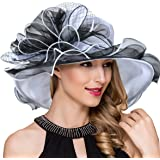 Ruphedy Women Kentucky Derby Church Dress Fascinator Wide Brim Tea Party Wedding Organza Hats S042b
