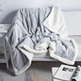 DISSA Sherpa Fleece Blanket Throw Blanket Soft Blanket Plush Fluffy Blanket Warm Cozy with Grey and White Strip Perfect Throw