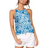Aokosor Halter Tops for Women High Neck Spaghetti Strap Tank Floral Print Sleeveless Shirts