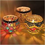 IIQ Round Votive Candle Holders, LED Candle Lamps Holder for Votive Candles and Tealight Set of 3, Bowl Tea Night Light Holde