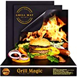BBQ Grill Mat by Grill Magic set of 3 Nonstick - Reusable Grilling Mats #1 for Charcoal Gas or Electric Grills or Cooking & B