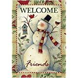 Morigins Welcome Friends Snowman and Cardinals Decorative Happy Winter Garden Flag 12.5x18 inch