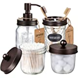 Mason Jar Bathroom Accessories Set(4 Pack) -Bronze-Lotion Soap Dispenser&Qtip Holder Set&Toothbrush Holder-Rustic Farmhouse D