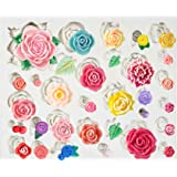 Funshowcase 32 Cavity Roses Flower Fondant Candy Silicone Mold for Sugarcraft Cake Decoration, Cupcake Topper, Polymer Clay,