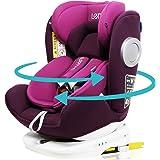 LETTAS チャイルドシート 360° 回転式 0か月~12歳頃(0~36kg) ISOFIX・シートベルト固定両対応 (パープル)