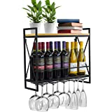 Sorbus Wine Bottle Stemware Glass Rack, Industrial 2-Tier Wood Shelf, Wall Mounted Wine Racks with 5 Stem Glass Holders for W