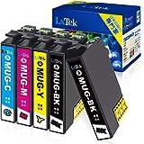 【LxTek】Epson用 エプソン MUG-4CL インクカートリッジ 5本セット(4色セット+黒1本) マグカップ インク『互換インク/2年保証/大容量/説明書付/残量表示/個包装』対応機種: EW-452A EW-052A