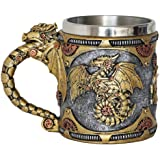 Steampunk Gearwork Mechanical Dragon Mug - Medieval Renaissance Dragons Beer Stein Tankard Stainless Coffee Cup Gift Mug For