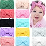 CELLOT 12 Colors Super Stretchy Soft Knot Baby Girl Headbands with Hair Bows Head Wrap For Newborn Baby Girls Infant Toddlers