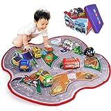 【Amazon限定ブランド】ADULi 赤ちゃんおもちゃ ベビーおもちゃ 布のおもちゃ 知育玩具 車おもちゃプレイマット(含む6おもちゃの布車) 創造できるカーシティ 2IN1布の車玩具 ベビープレイマット 収納ボックス ベビー 子供おもちゃ ベビー