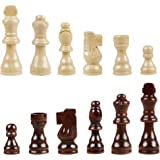 Juegoal Wooden Chess Pieces Only, 32 Pieces Wood Chessmen Pieces, 3 Inch King Figures Chess Game Pawns Figurine Pieces, Repla