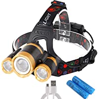 ヘッドランプ USB 充電式 LED 12000ルーメン 120°調整可能 2つの18650バッテリー付き センサー機能付き 防水 防災 登山 夜釣り