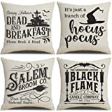 PSDWETS Fall Decor Throw Pillow Covers Set of 4 with Halloween Decorations Quotes Cotton Linen Home Pillow Covers 18 x 18 Inc