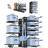 Danpix フライパンスタンド (8仕切り フライパンラック滑り止め付き) 鍋蓋収納 3種インストール方法 ふたスタンド多機能 シンク下収納ラック 縦置 横置可能 フック3枚付き収納マット3枚付