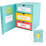 The Piggy Box Save Spend Give Piggy Bank   Teach Children About Saving Money & Giving   Three Drawers for Bills and Coins   G