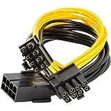 JBingGG GPUグラフィックスビデオカードへの8ピン2ピンPCI-E 8ピン(6ピン+ 2ピン)電源ケーブル、スプリッタPCI ExpressグラフィックカードコネクタPC電源ケーブルグラフィックカード用ワイヤーCPUモレックスBTC Mine