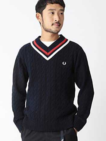 Beams x Fred Perry Cricket Sweater 11-15-0854-060: Navy