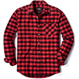CQR Men's All Cotton Flannel Shirt, Brushed Soft Casual Button Up Plaid Shirt, Long Sleeve Outdoor Shirts