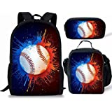 AFPANQZ SchoolBag Set 3 in 1 Laptop Backpack Insulated Lunch Tote Pencil Case for Teen Girl Boys