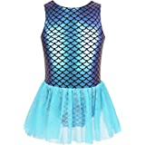 TiaoBug Kids Baby Girls Mermaid Princess Costume Fish Scale Camisole Sequins Tutu Skirts Ballet Dance Gymnastics Leotard