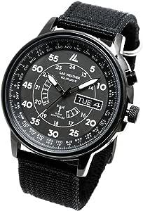 [ラドウェザー] 電波ソーラー腕時計 ソーラー電波時計 ミリタリーウォッチ メンズ ブラック lad017
