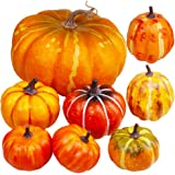 Package of 8 Pieces Assorted Orange Artificial Pumpkins Fall Party Table Fireplace Decor Wreath Craft Harvest Halloween Pumpk