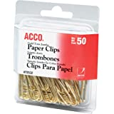 ACCO Gold Tone Jumbo Paper Clips, Smooth Finish, Steel Wire, 20 Sheet Capacity, 50 Clips/Box (A7072532)