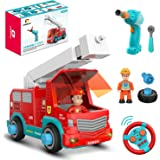 DEERC Remote Control Take Apart Toys RC Cars for Kids with 2.4GHz, STEM Build Your Own Fire Truck Toys with Electric Drill, L