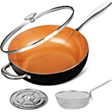 MICHELANGELO 5 Quart Nonstick Woks and Stir Fry Pans With Lid, Frying Basket & Steam Rack, Nonstick Copper Wok Pan With Lid,