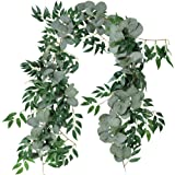 Supla 2 Separate 1.8m L/Pcs Faux Silver Dollar Eucalyptus and Willow Vines Twigs Leaves Garland String Wedding Arch Swag Back
