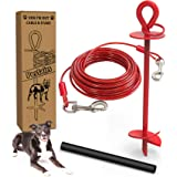30 Ft Dog Tie Out Cable and Stake - Dog Yard Leash and Stake for Medium to Large Dogs Up to 100 lbs - Spiral Blade Dog Yard S