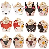 Bestus Woodland Animals Creatures Cupcake Wrappers 24 pcs for Baby Shower Decorations, great for Neutral, Tribal, Wooden, Wil