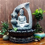 Buddha Tabletop Waterfall Fountain Fengshui Meditation Relaxing Indoor Decoration, Waterfall Kit with Circular Water Flow for