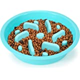 WHIPPY Slow Feeder Dog Bowl Insert for Raised Dog Pet Feeder Anti Slip Puzzle Maze Dog Food Bowl Compatible with Elevated Din