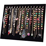 JIFF Velvet Necklace Jewelry Organizer/Tray/Pad/Showcase/ Display case (Black 28 Hook Necklace Display)
