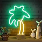 Lumoonosity Palm Tree Lights Neon Signs - Coconut Tree Neon Light for Bedroom, Desktop, Tabletop Decor - Battery/USB Powered