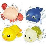 泳げるカメ&イルカ お風呂おもちゃ 小さな黄色いアヒル小さなカニ お風呂遊び 浴槽のおもちゃ 時計じかけの子供のおもちゃ ビーチおもちゃ 知育玩具 4点セット
