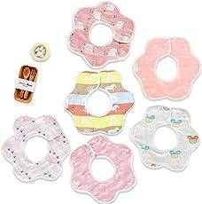 (6枚入り) Hapipana 綿100% 6重ガーゼ ベビー ビブ よだれかけ 花びら型 360度回転 食事用 スタイ 柔らかい 出産のお祝いギフト (女の赤ちゃん)