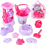 Liberty Imports Pink Princess Sand Wheel Beach Set Toy for Girls - Includes Sand Sifter, Mermaid Bucket, Water Pot, Play Tool