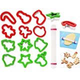 JOYIN13 Pieces Stainless Steel Christmas Cookie Cutters with Comfort Grip 3.5í plus a Rolling Pin for Large Holiday Cookies,