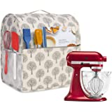 Yarwo Dust Cover for 4.5 qt and All 5 qt Stand Mixer, Protective Stand Mixer Cover with Top Handle and Pockets for Extra Acce