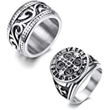 Finrezio 2Pcs Stainless Steel Rings for Men Vintage Silver Biker Signet & Band Ring Set Size 6-13