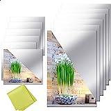 """12 Pieces Self Adhesive Acrylic Mirror Sheets, Flexible Non Glass Mirror Tiles Mirror Stickers for Home Wall Decor, 6"""" x 6"""" a"""