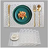 Kreatur Plastic White Waterproof Placemats Set of 6 for Dining Table Wipe Clean Washable Tablemats Vinyl PVC Table Mats for K