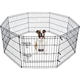 """Pet Dog Playpen Foldable Exercise Pen Metal Yard Fence/Portable for travel camping 8 Panel-24"""" (24"""")"""