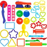 Oun Nana Playdough Tools Set for Kids,32 PCS Play Dough Tools Kit - Molds, Rollers, Extruder, Cutter, Scissor, Random Color