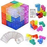 XMD マグネットパズルブロック 魔方 最強大脳ゲーム 賢人パズル Magnetic Cube Blocks マジックキューブ マグネットおもちゃ 磁石ブロック 積み木 誕生日 入園 クリスマス プレゼント (クリアカラー 魔方)